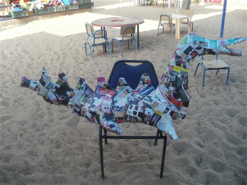 The children in Gan Erez in Or-Yehuda made a dragon from recycled materials, following There's No Such Thing as a Dragon