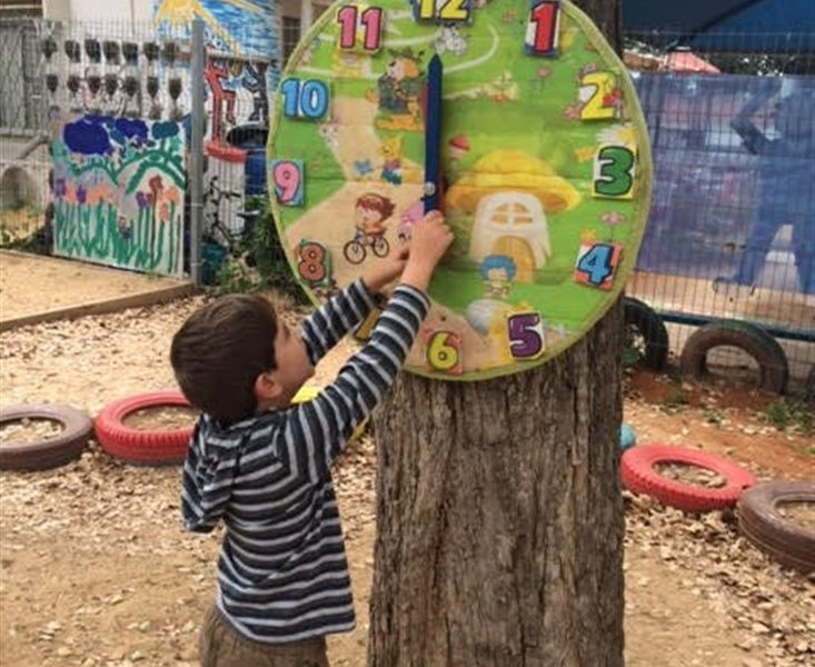 Setting the time in Gan Rotem in Karkur, following The Clock